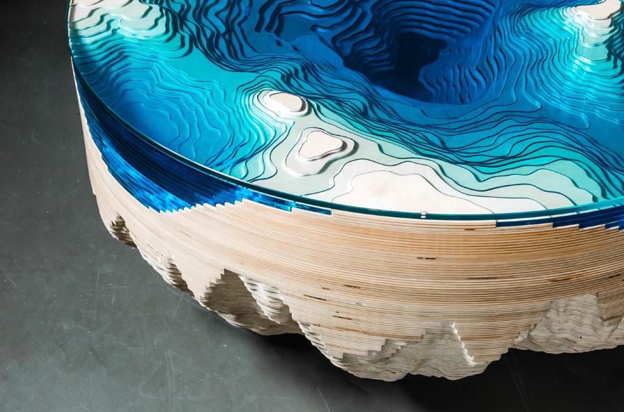 this stunning coffee table looks just like the seafloor