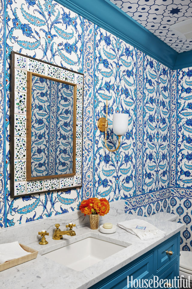 blue bathroom backsplash design ideas