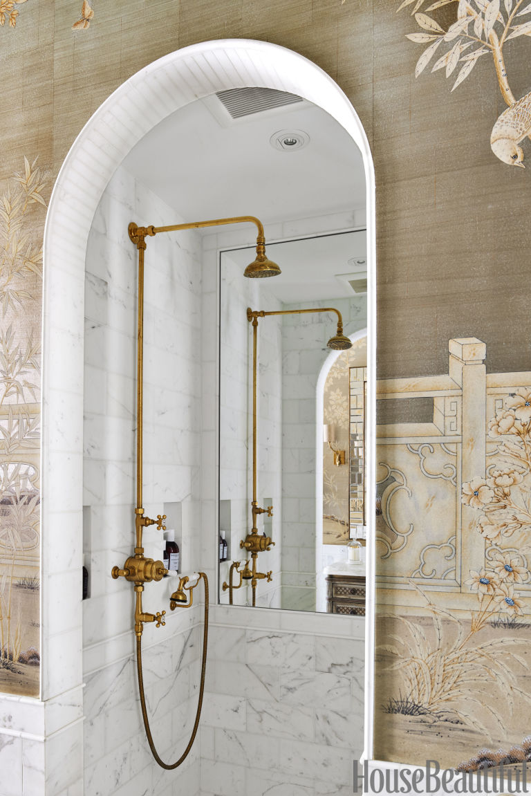 House Beautiful Bathroom marble bathroom with chinoiserie wallpaper - luxe bathroom