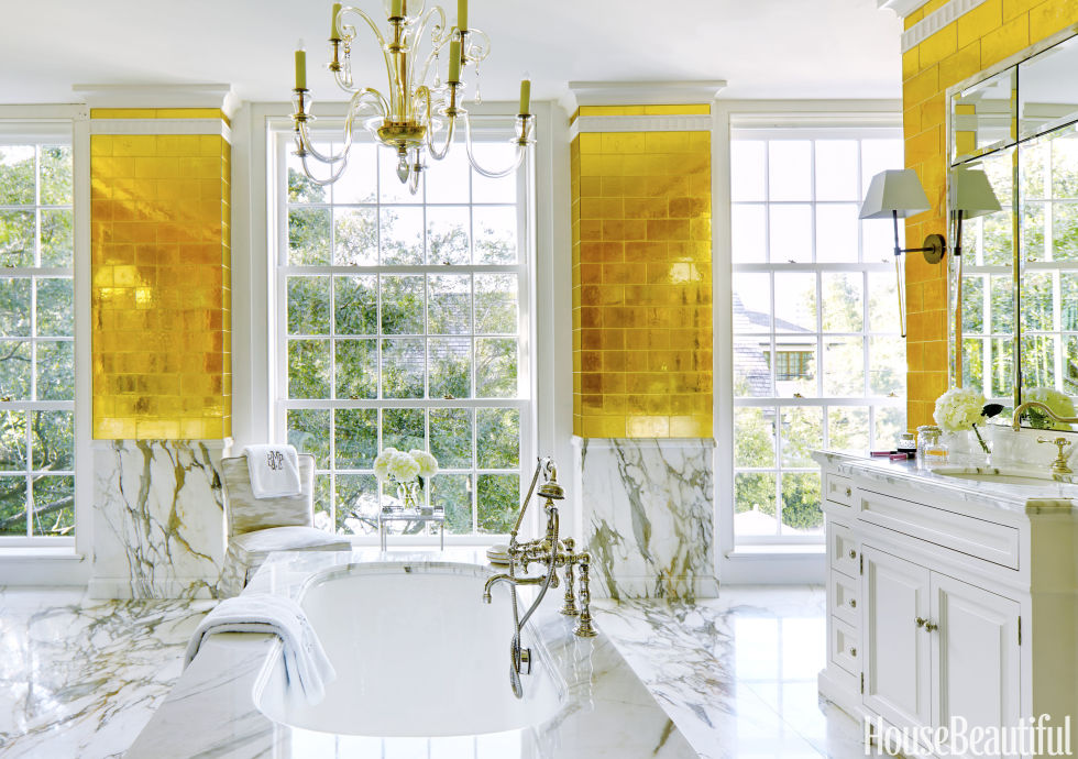 The Designer Finally Got A Chance To Use Davlin Gold Leaf Glass Tiles From  Ann