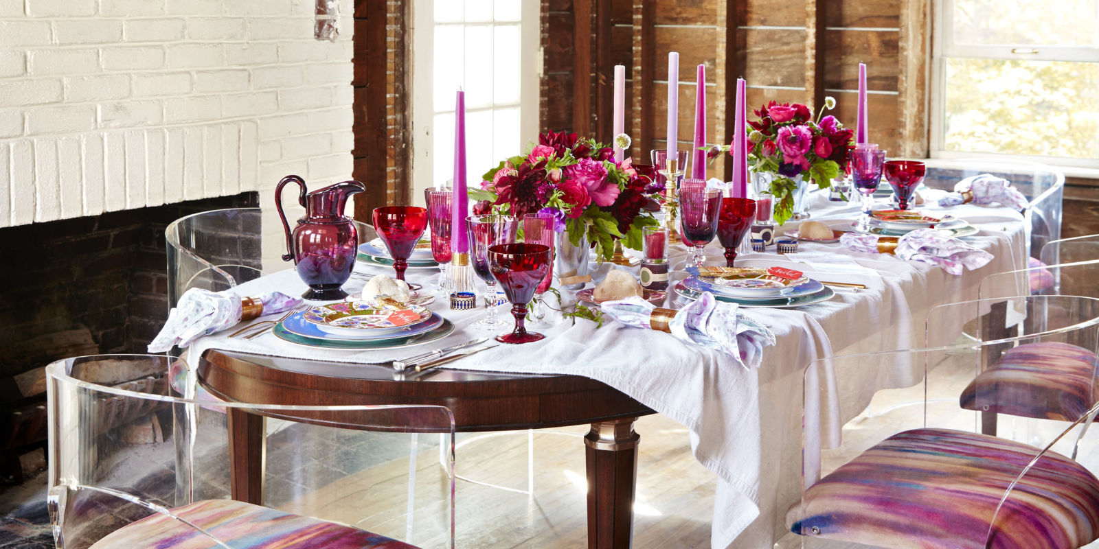 A red and pink tablescape by eddie ross unusual table for Table decoration design