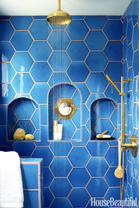 The Shower S Adriatic Sea Hexagonal Tiles Are By Fireclay Tile A Niche Is Inset With