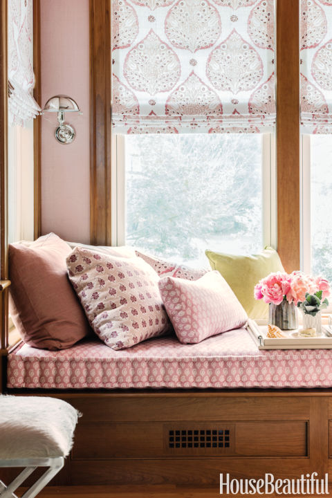 "Dubbed ""millennial pink"" by The Cut, the peach-salmon hybrid refuses to go away. ""Not too juvenile or too twee or too sweet, it acts like a neutral,"" says designer Lisa Tharp.  Get this paint color: Fine Paints of Europe Windsor Pink"