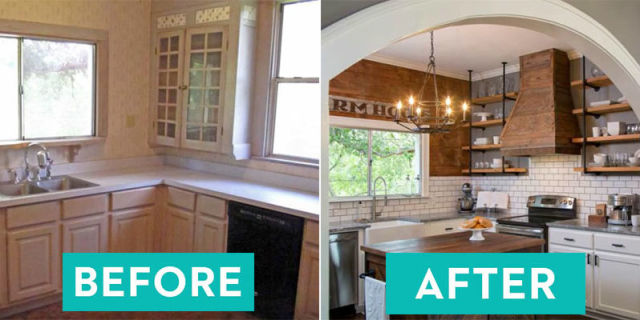 dated kitchen makeover - kitchen before after
