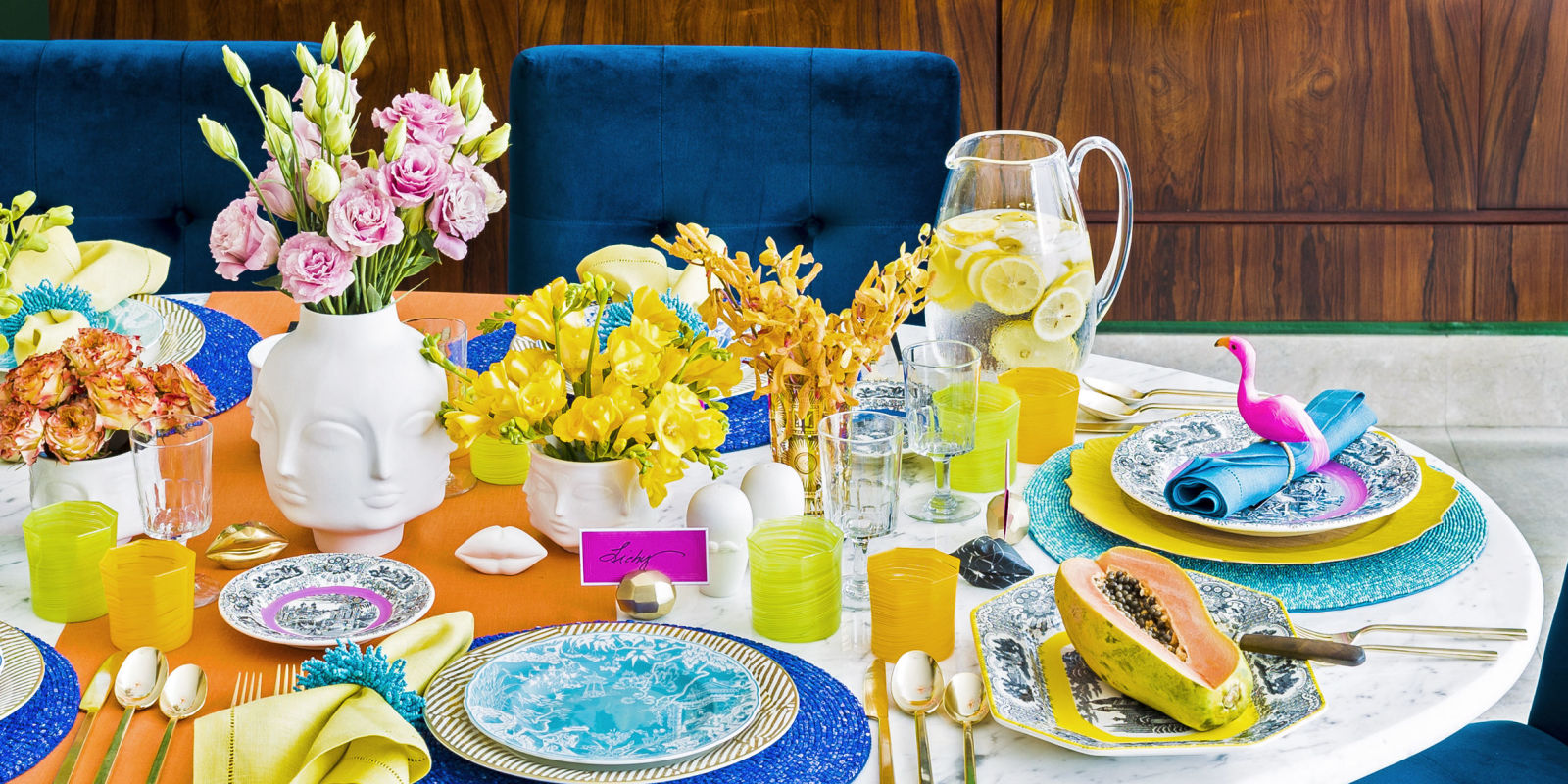 Tropical brunch tablescape colorful table decor by aaron Brunch table decorations