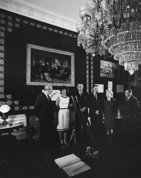 White House Monroe Room As Decorated By Jackie Kennedy