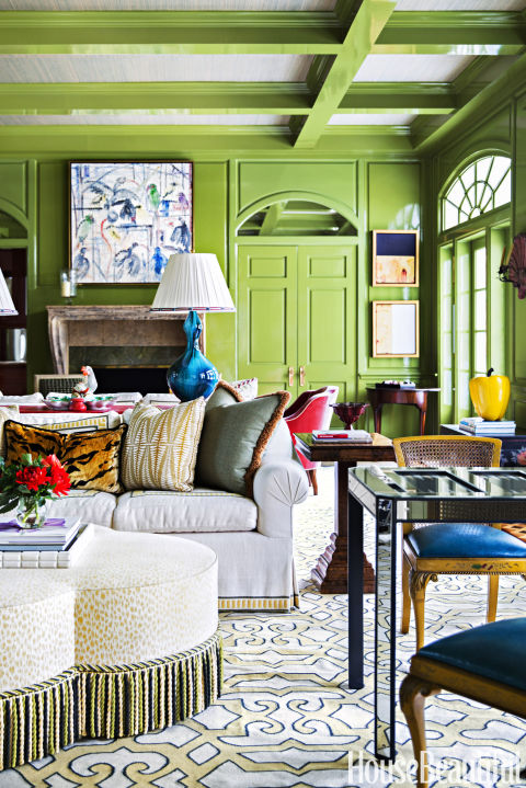 Green Family Room By Celerie Kemble And Lindsey Herod