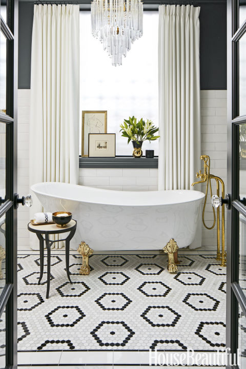 designed by suzann keltzein the dark walls and geometric tiles in this dramatic - Bathroom Tiles Designs Gallery