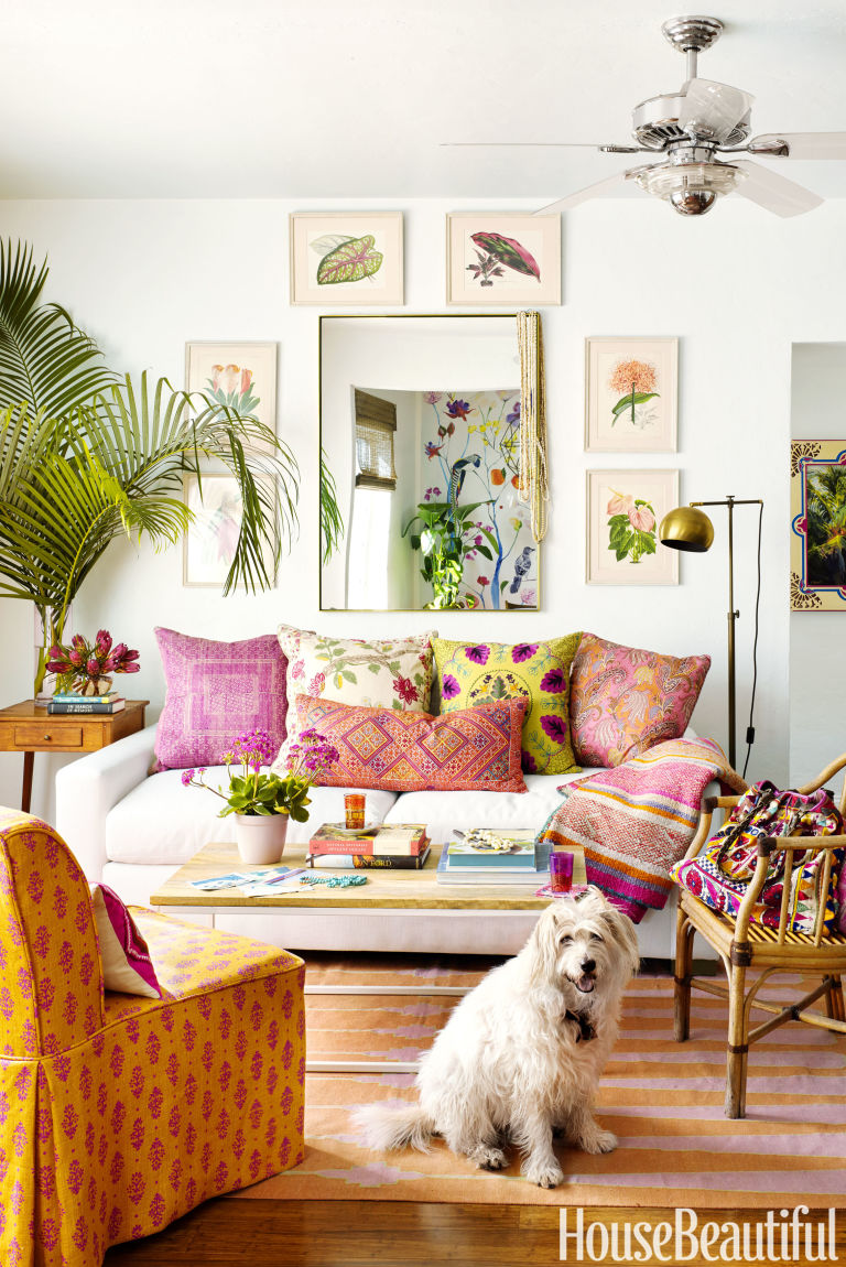 House Beautiful Small Spaces schuyler samperton's florida apartment - boho decorating in small