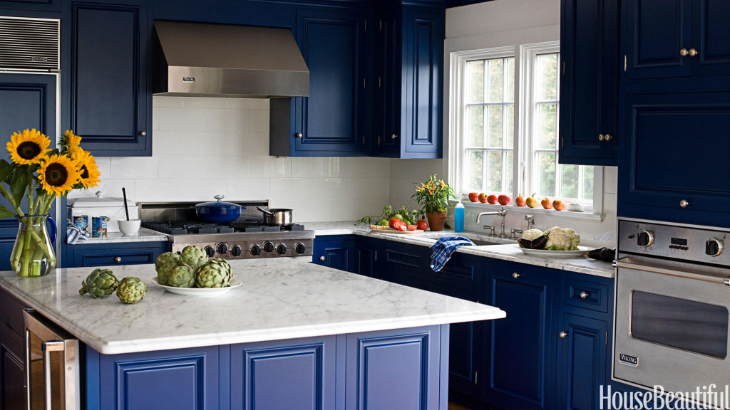 midnight blue kitchen island