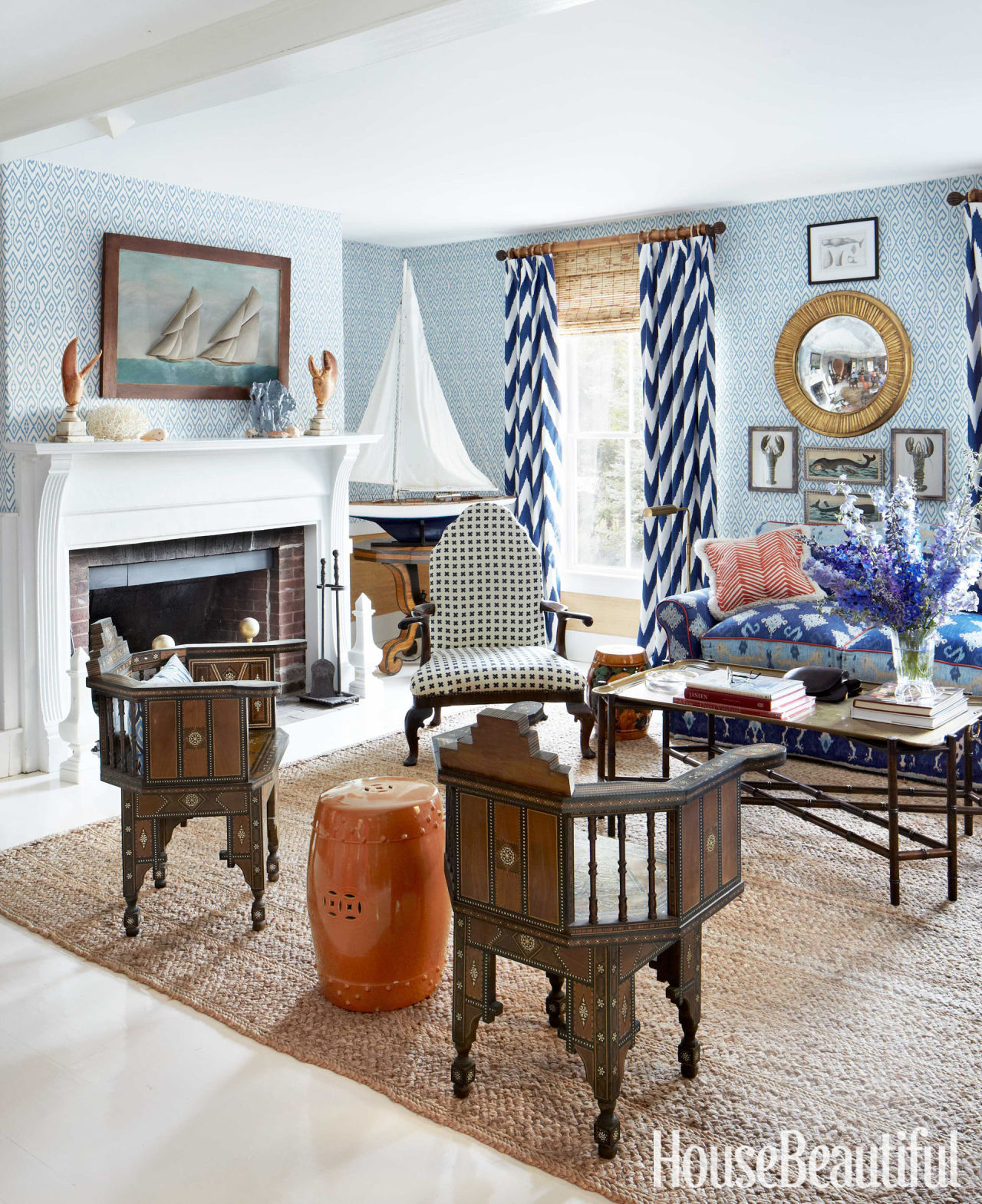John knott and john fondas maine summer house quadrille - House beautiful living room makeovers ...