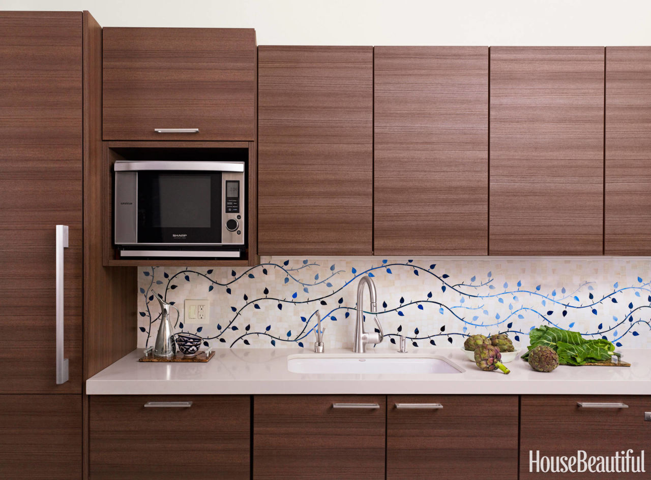 Modern custom tile vine backsplash for Custom tile mural