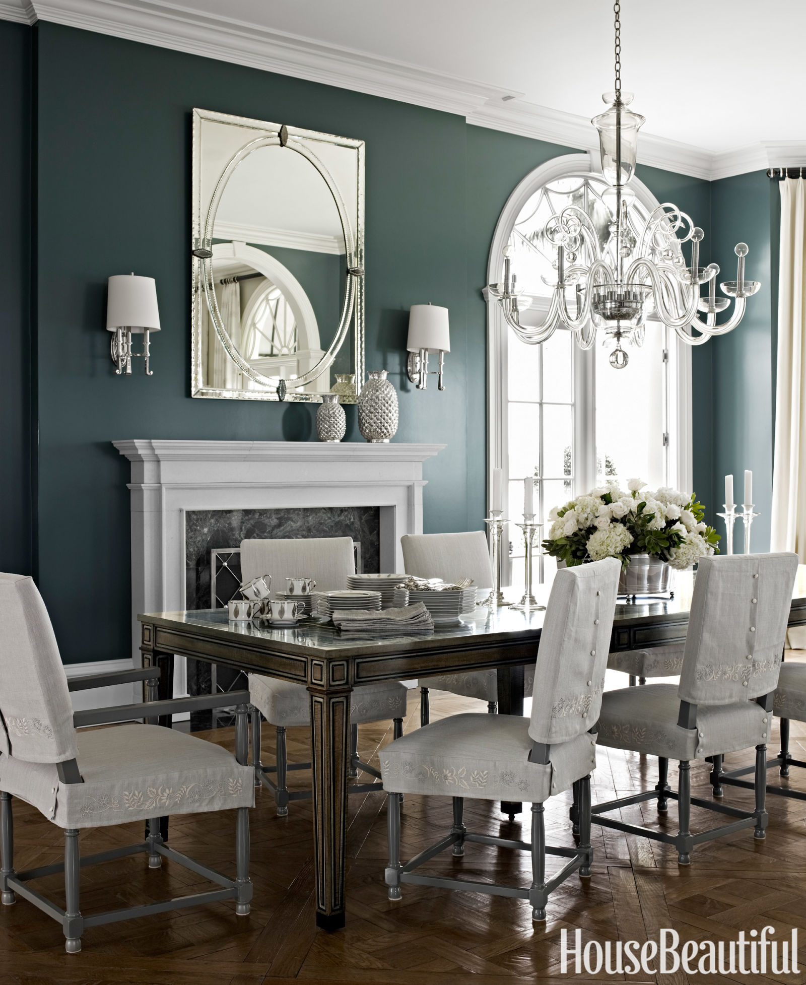 Dark paint color rooms decorating with dark colors for Grey dining room