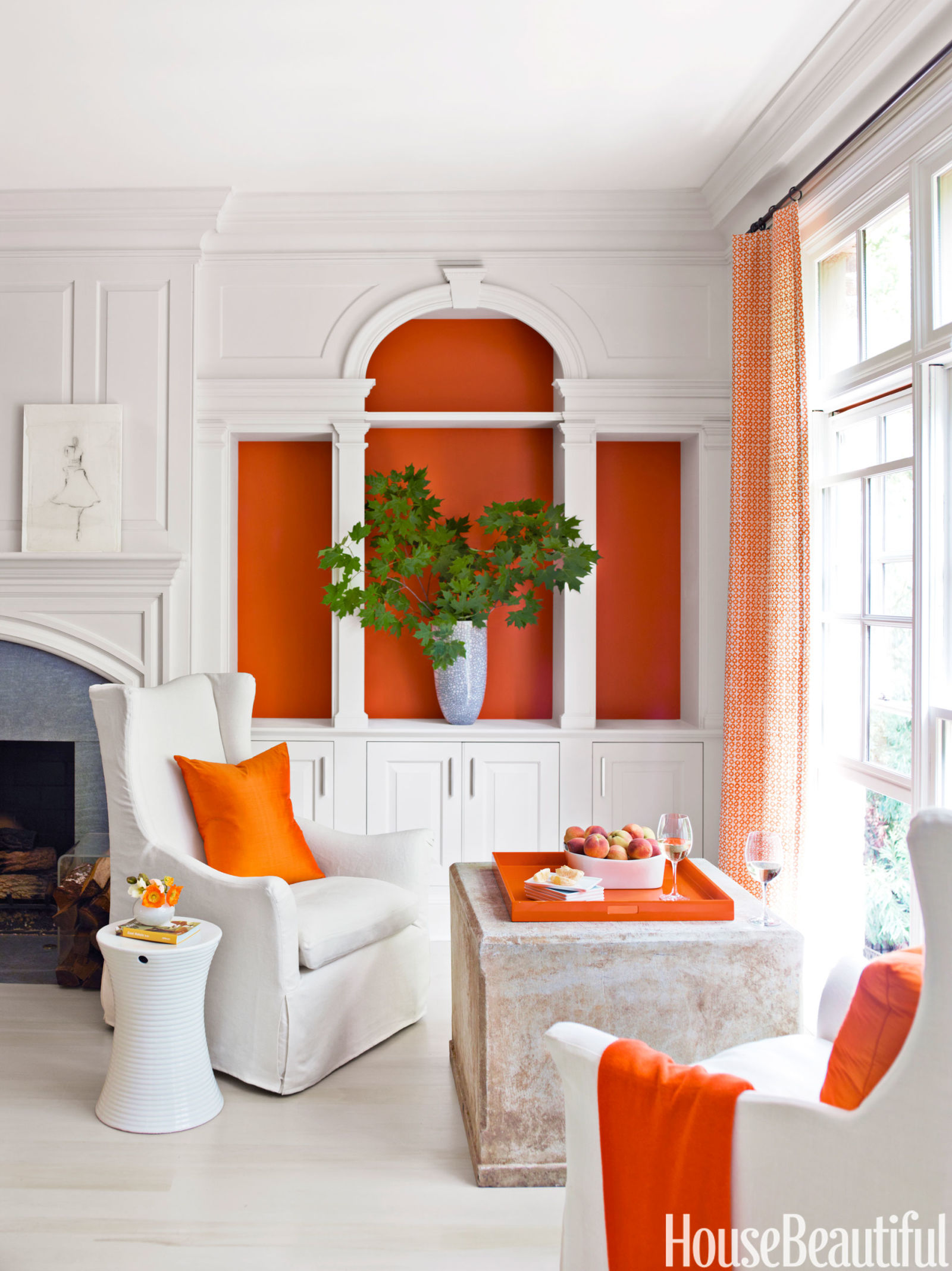unique living room decorating ideas orange accents chocolate brown