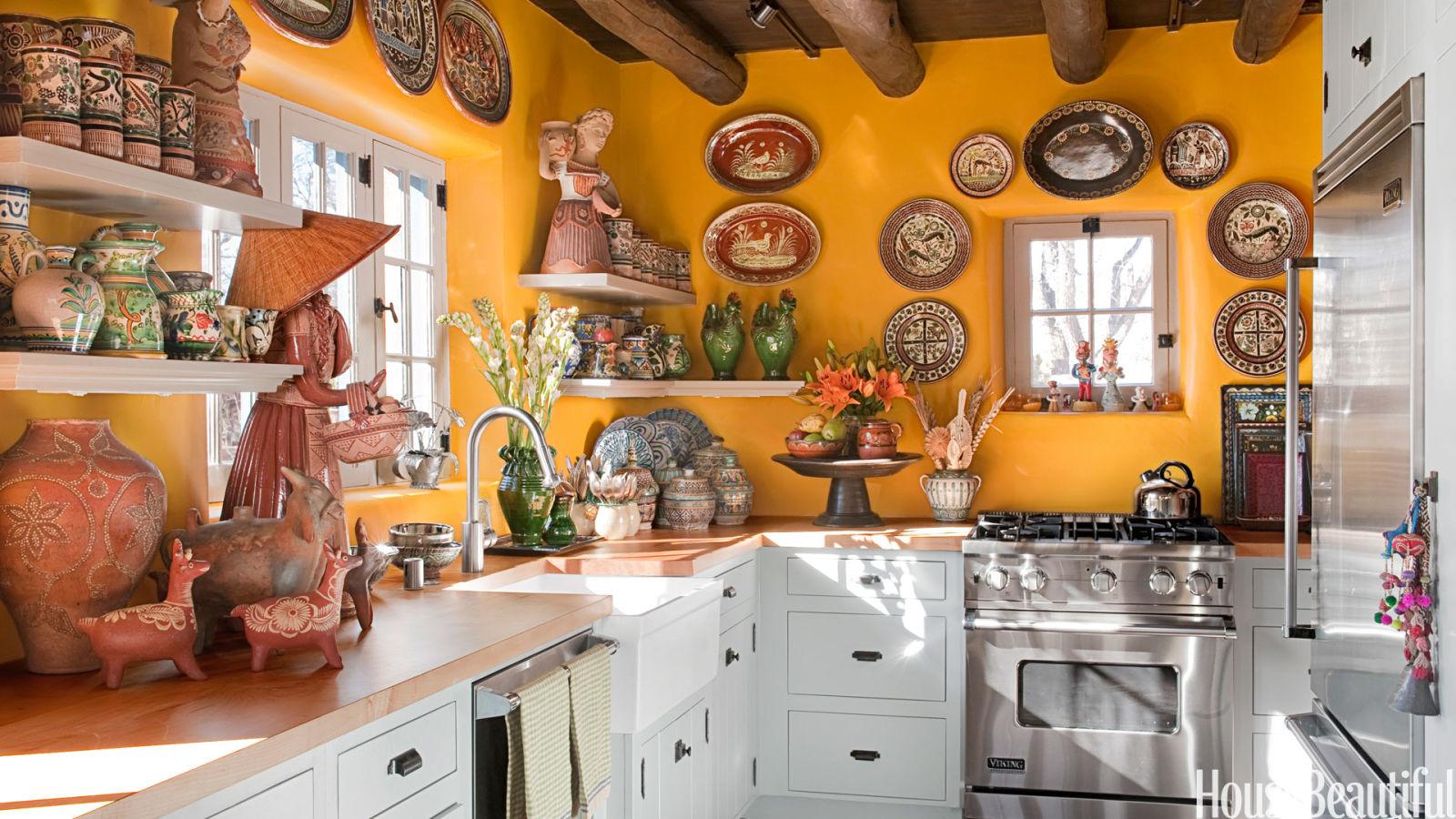 Mexican Themed Kitchen Decor Yellow Kitchen With Santa Fe Style Southwest Kitchen Decor