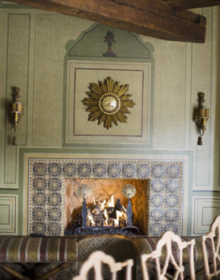 Cathy kincaid designs a french country house in arizona for French country fireplace ideas