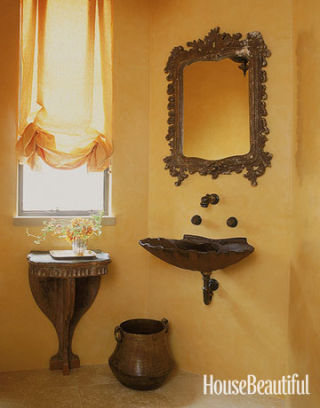 Yellow bathrooms decorating ideas for yellow bathrooms for Peach colored bathroom ideas
