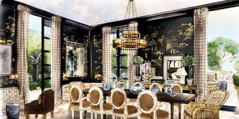Room design sketch interior designer sketches for Mark d sikes dining room