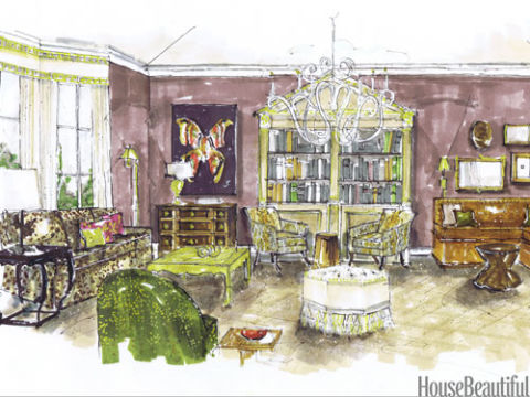 Interior Design Sketches Living Room room design sketch - interior designer sketches