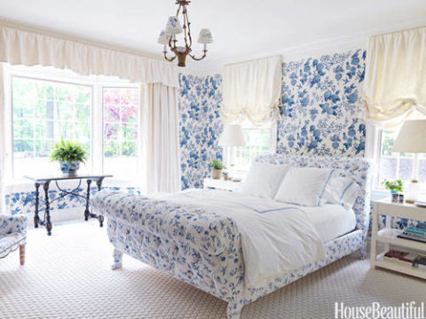Spring print rooms decorating with pattern for Blue guest bedroom ideas