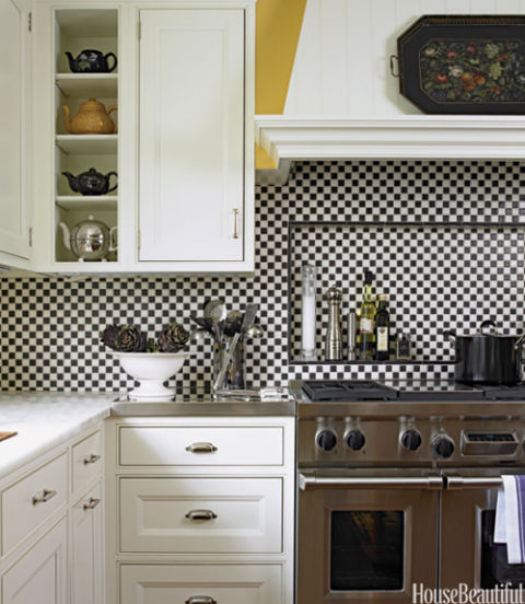 14 kitchen backsplash ideas tile designs for kitchen backsplashes - Black and white tile kitchen backsplash ...