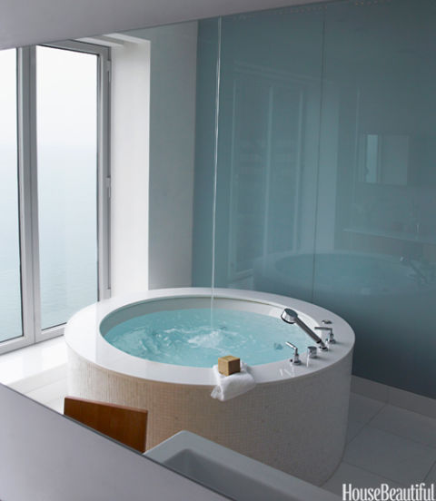 circular bathtub in white bathroom with spout coming from the ceiling. The Best Bathrooms of 2010   Photos of 2010 Bathroom Designs