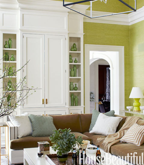 Green living rooms in 2016 ideas for green living rooms for Green and brown living room walls