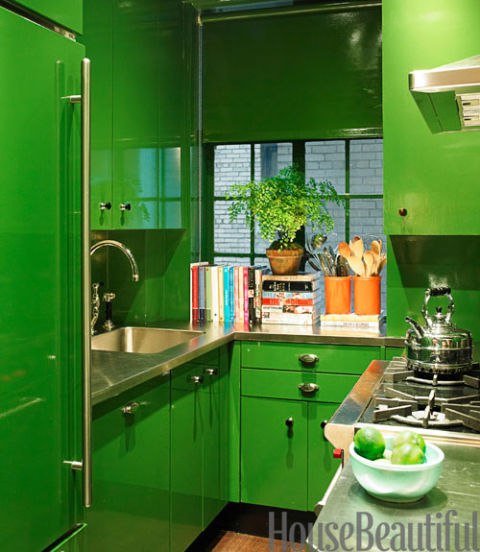 Lacquered Green Kitchen