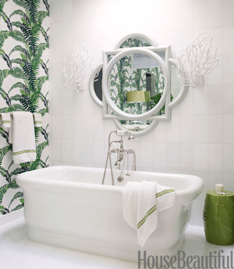 white bath tub in room with green and white wallpaper. Green Bathrooms   Ideas for Green Bathrooms