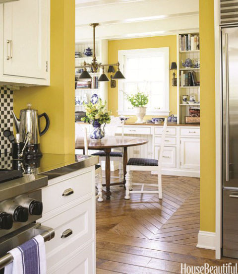 Orange Kitchen Room With White Cabinets Stock Image: Ideas For Yellow Kitchen Decor