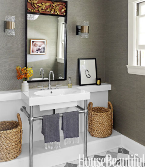 Gray Powder Room With Grey Grasscloth: Decorating With Gray