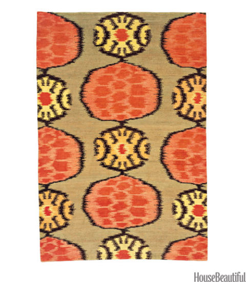 orange flower ikat rug