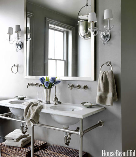 bathroom washstand with towel bars