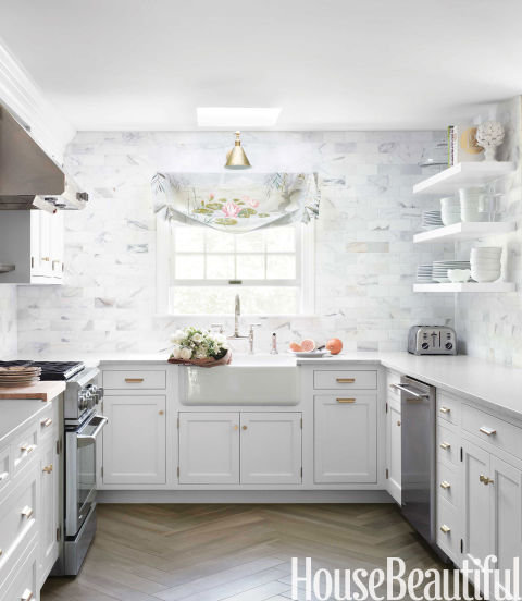 Classic white kitchen white kitchen decorating ideas for Kitchen colors with white cabinets with monogram stickers for cups