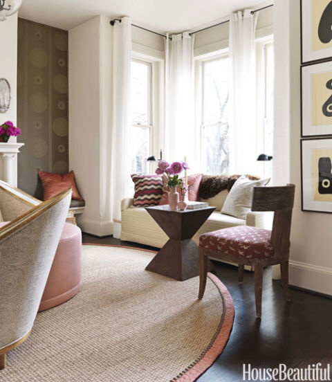 Dixon interiors of victorian row house pink and brown room decor