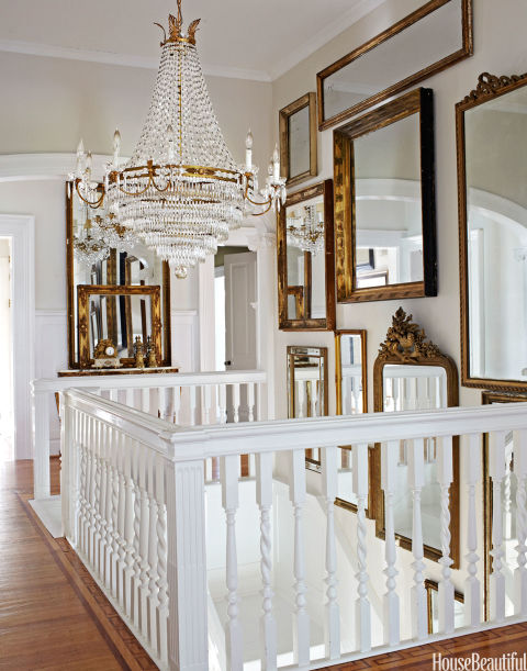 salon style mirror staircase - Decorating With Mirrors