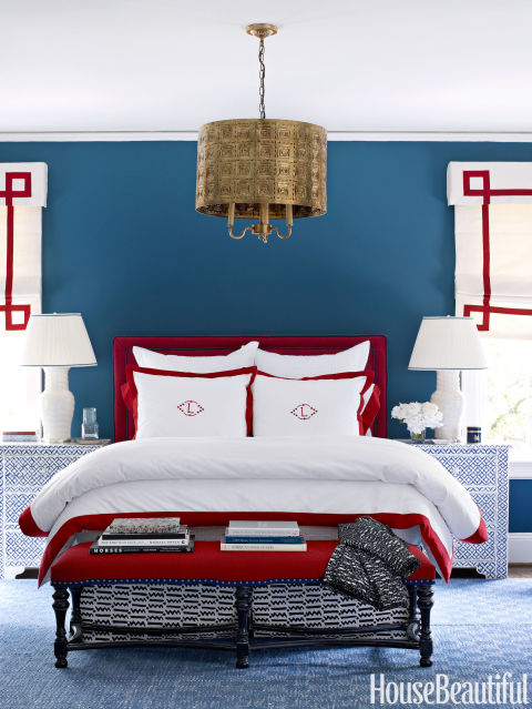 red white and blue bedroom blue room white