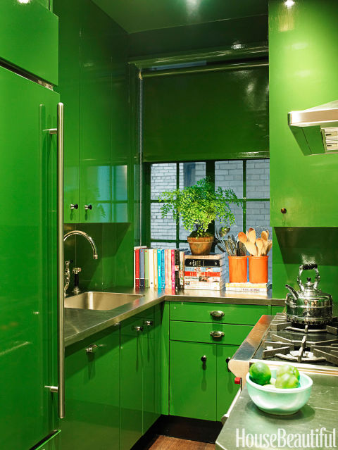 Painting Your Kitchen Cabinets Is No Small Undertaking: Bold Color In Small Spaces