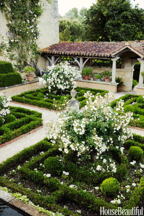 In the Cloister Garden of a 16th-century French countryside estate, the classic rose Katharina Zeimet stands out among the formal hedges.<br />