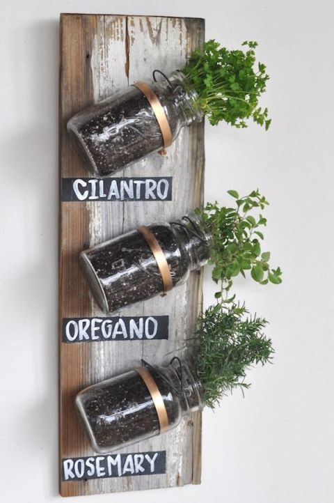 Mason jars may be a cliché, but we gotta admit: They're tailor-made for an indoor herb garden and crazy-easy to assemble.<br />Get the how-to from Camille Styles »<br />