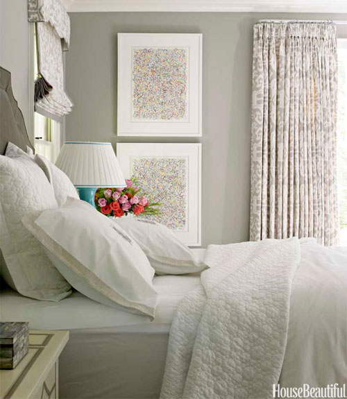 Gray Room With Bed And Print Curtains