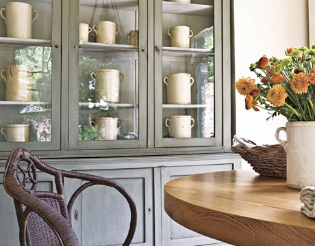Reclaimed Pine Kitchen Table And 19th Century Cupboard From Provence