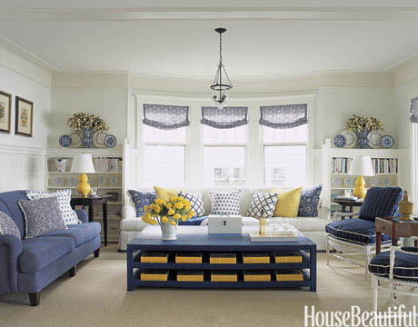 White blue yellow michigan tom stringer for Living room ideas yellow and blue