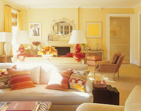Living Room Yellow And Red amanda nisbet - manhattan apartment - jewel tones - color advice