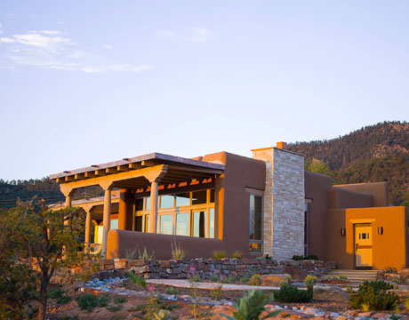 Santa fe home southwestern style modern architecture for Pueblo home builders