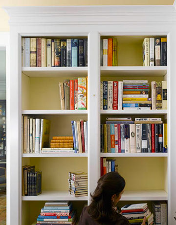 How To Decorate Bookshelves how to decorate a bookcase - decorate shelves - elizabeth mayhew