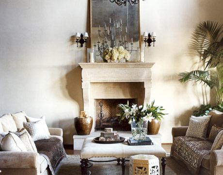 Montecito home warm colors christina rottman for Tranquil living room ideas