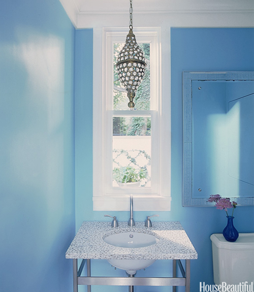 Blue Bathroom Ideas Gratifying You Who Love Blue Color: Powder Room Design And Pictures