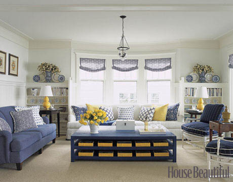 Blue White And Yellow Living Room