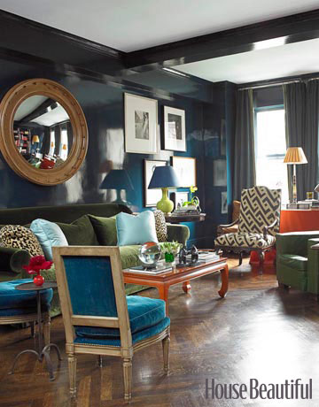 Lacquered Navy Walls Miles Redd Interior Design